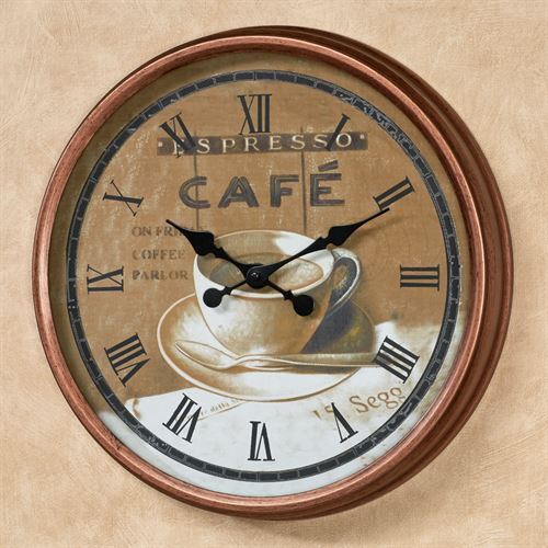 Coffee Time Wall Clock Copper