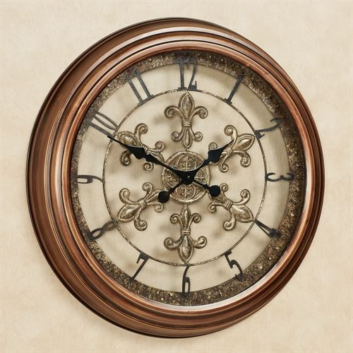 La Chartres Fleur De Lis Metal Wall Clock Antique Bronze