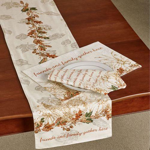 Autumn Heritage Table Runner Linen 14 x 70