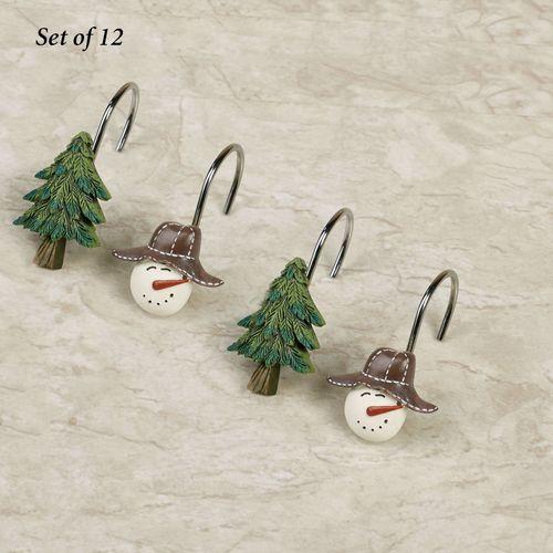 Snowmen Gathering Shower Hooks Tan 12 Piece Set