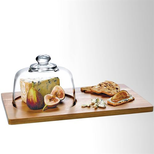 Calvina Tray and Dome Serving Set Clear