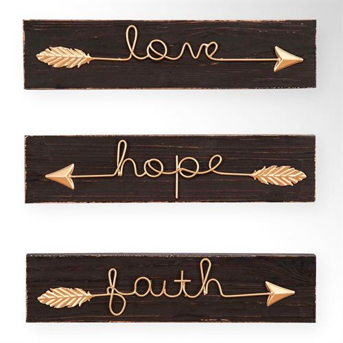 Faith Hope Love Arrow Wall Art Gold Set Of Three