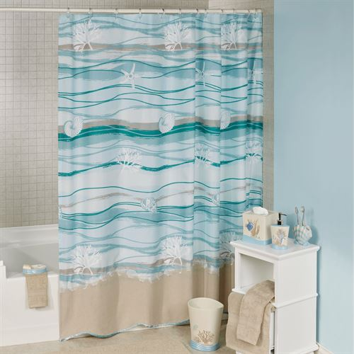 Seaview Shower Curtain Sand 72 x 72