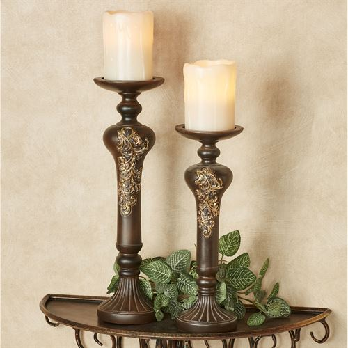 Prudenzia Scroll Candleholder Set Aged Brown Set of Two