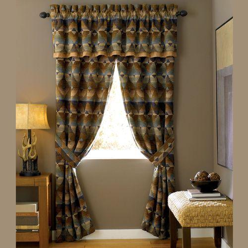 Dakodah Tailored Curtain Pair Multi Warm 82 x 84