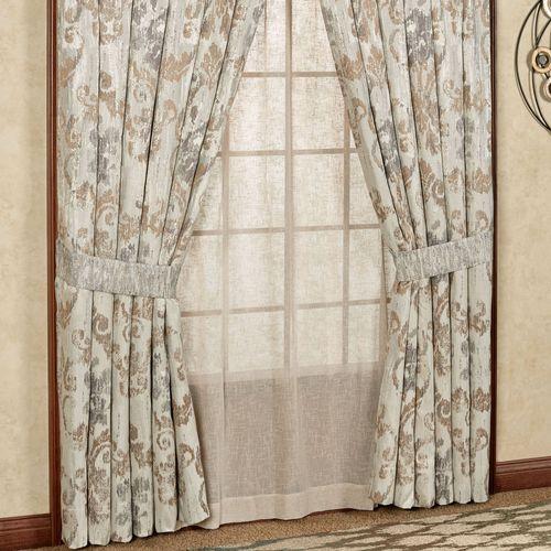 Seville Wide Curtain Pair Platinum Gray 100 x 84