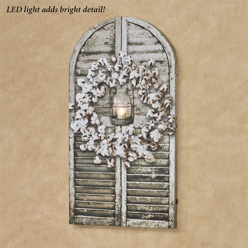 Cotton Wreath Shutter LED Canvas Wall Art Multi Cool