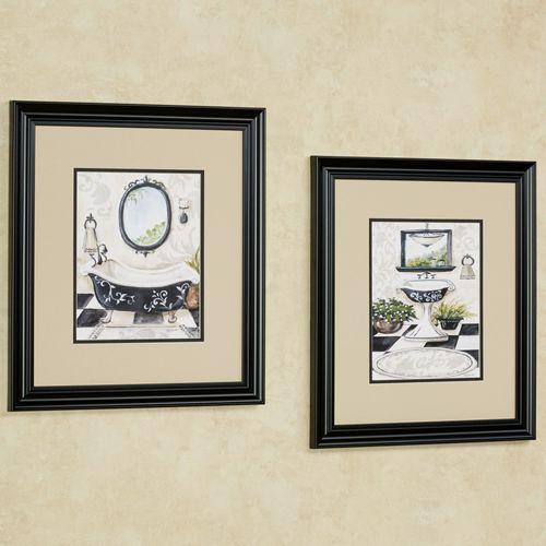 Bath Framed Wall Art Cream Set of Two