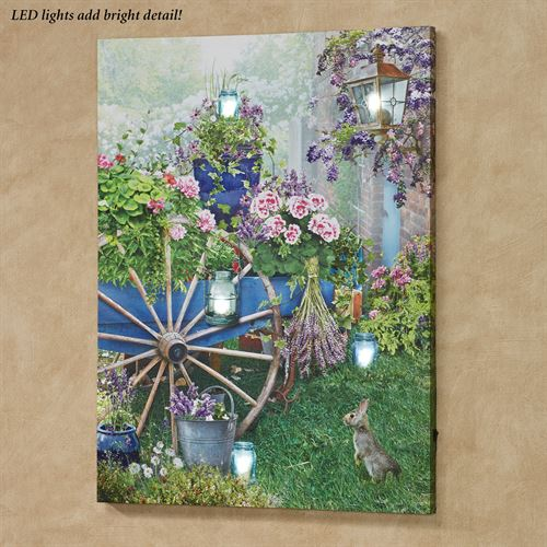 Garden Flower Cart LED Canvas Wall Art Multi Bright