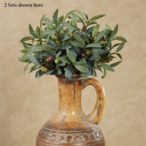 Olive Bush Spray Accents Green Set of Two