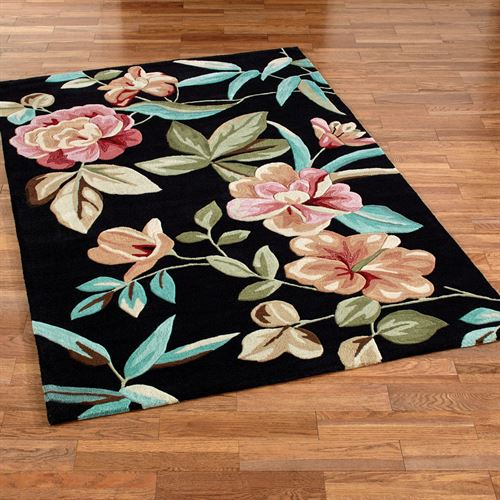 Flor Bloom Rectangle Rug Black