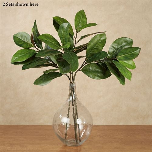 Magnolia Leaf Branch Spray Accents Green Set of Two