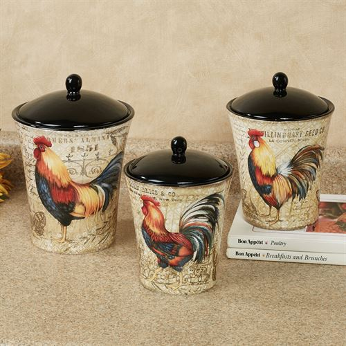 Beau Gilded Rooster Kitchen Canisters Multi Earth Set Of Three