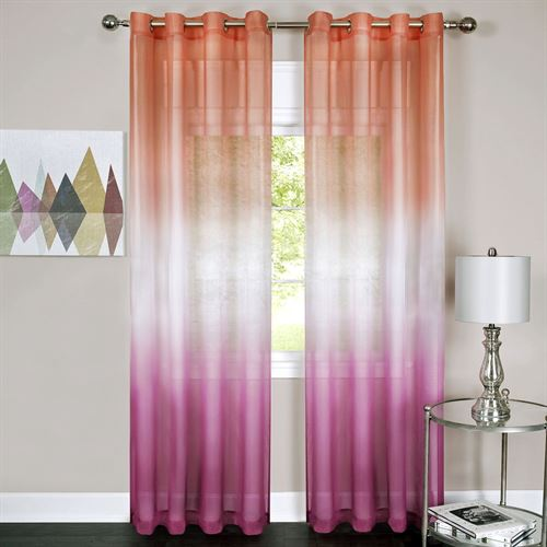 Rainbow Semi Sheer Grommet Curtain Panel Sangria