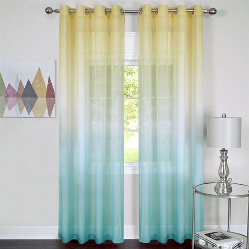Rainbow Semi Sheer Grommet Curtain Panel Turquoise