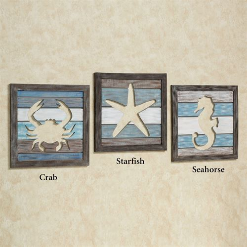 Crab Cutout Slat Wall Art Blue