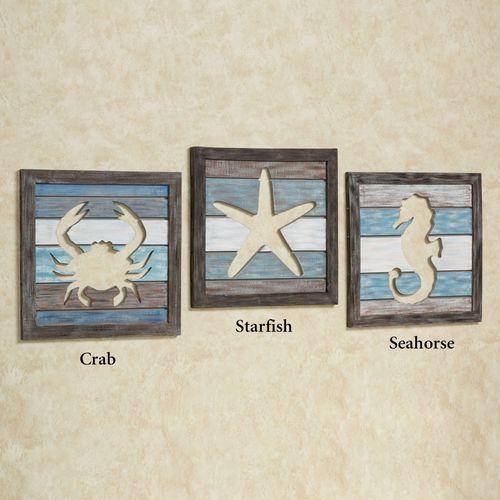 Crab Cutout Slat Wall Art Blue