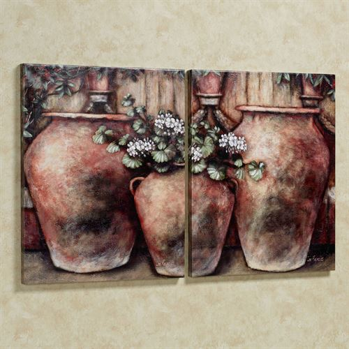 White Pelargonium Canvas Art Multi Earth Set of Two