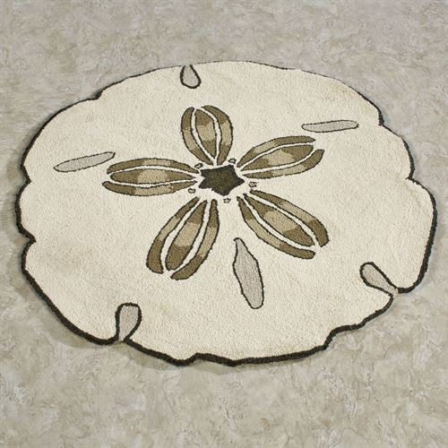 sand dollar shaped round rug