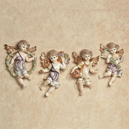 Cherubs and Blooms Wall Plaque Set Pastel Set of Four