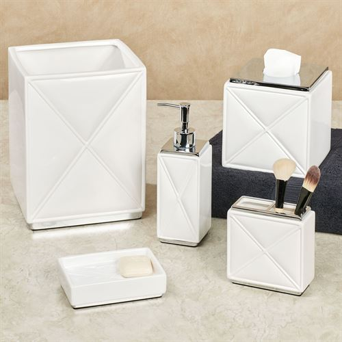 Quilt Lotion Soap Dispenser White