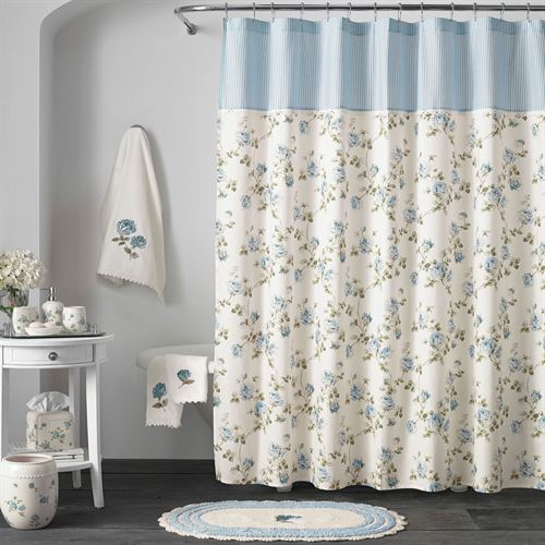 Rosalie Blue Floral Shower Curtain by Piper & Wright