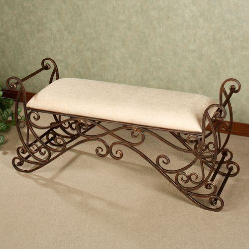 Meyda Scrolling Bench Antique Bronze