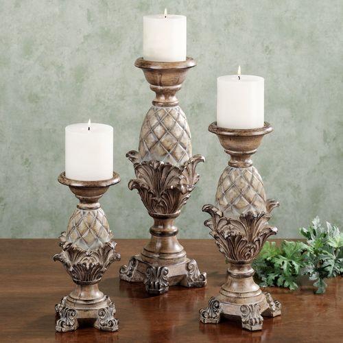 Anaya Candleholder Set Light Almond Set of Three