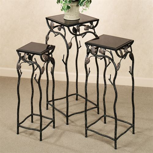 Vining Branches Pedestal Table Set Black Set of Three