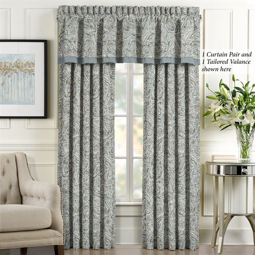 Giovanni Wide Tailored Curtain Pair Glacier 100 x 84