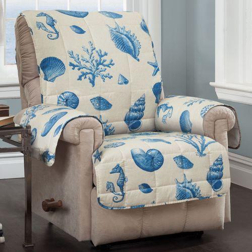 Seashells Coastal Quilted Furniture Protectors