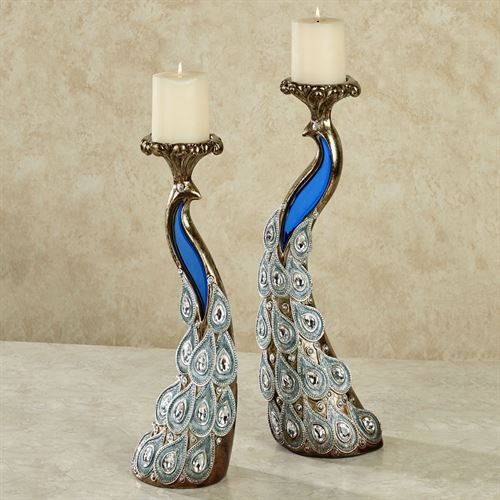 Feathered Splendor Candleholders Blue Set of Two