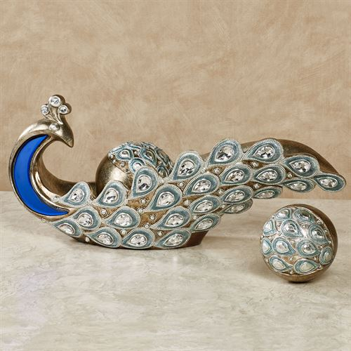 Feathered Splendor Bowl with Orbs Blue Set of Three