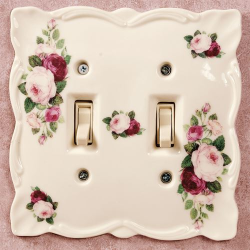 June Rose Double Switchplate Cream