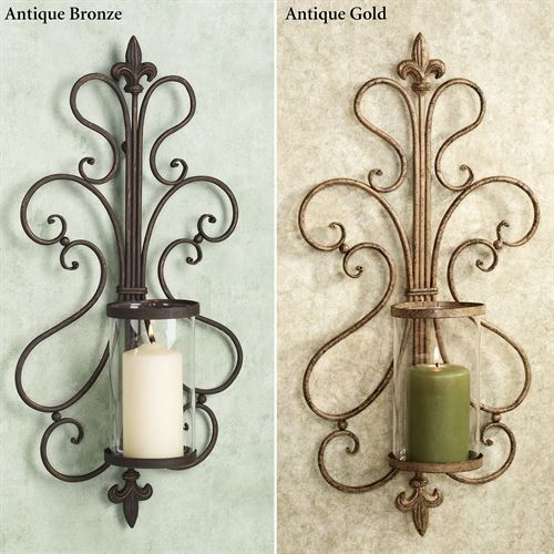 Carabella Hurricane Wall Sconce Pair Antique Bronze