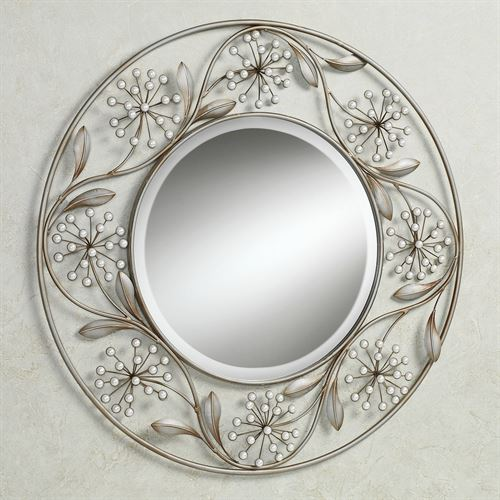 Pearlette Wall Mirror Champagne Silver