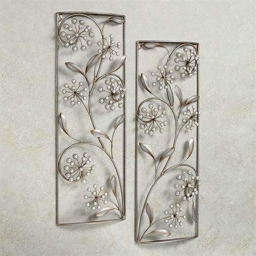 Pearlette Wall Panel Set Champagne Silver Set of Two