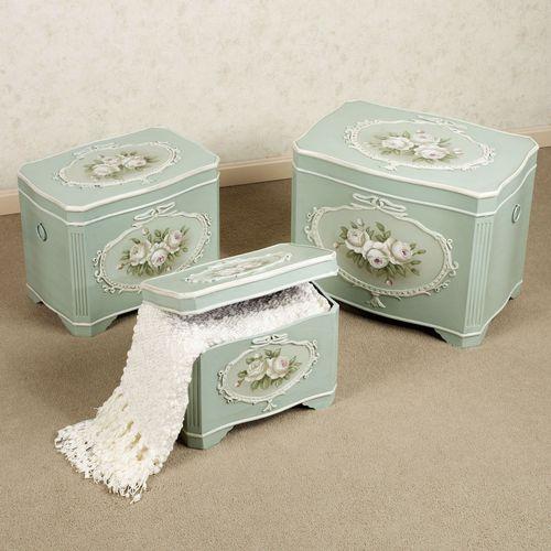 Abigail Storage Trunk Set Aqua Mist Set Of Three