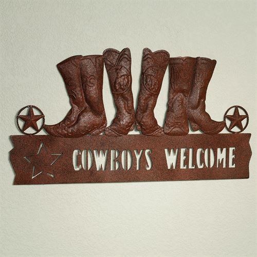 Cowboys Welcome Plaque Rustic Brown