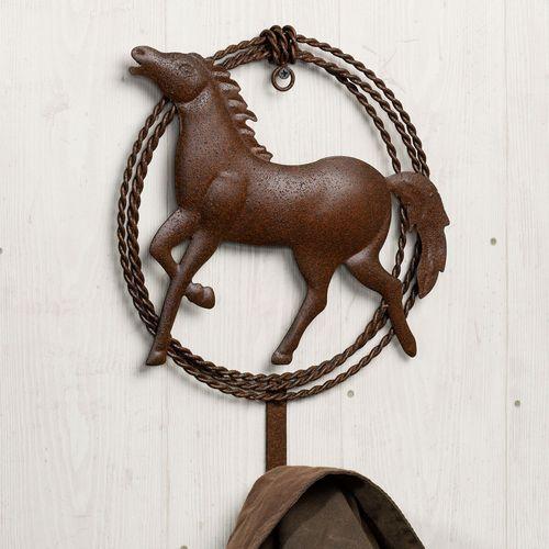 Fierce Stallion Single Wall Hook Rustic Brown