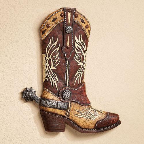 Cowboy Boot Wall Art Multi Earth