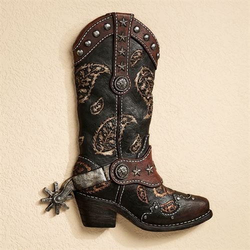 Western Boot Wall Art Black