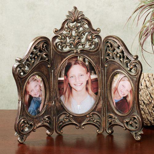 Samantha Hinged Triple Tabletop Photo Frame Mahogany Bronze