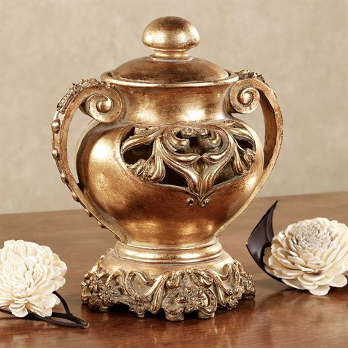 Winnifred Covered Urn Aged Gold