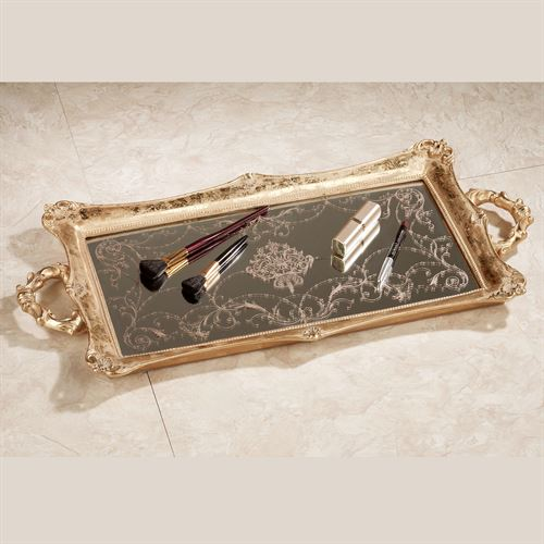 Letitia Gold Finish Mirrored Vanity Tray