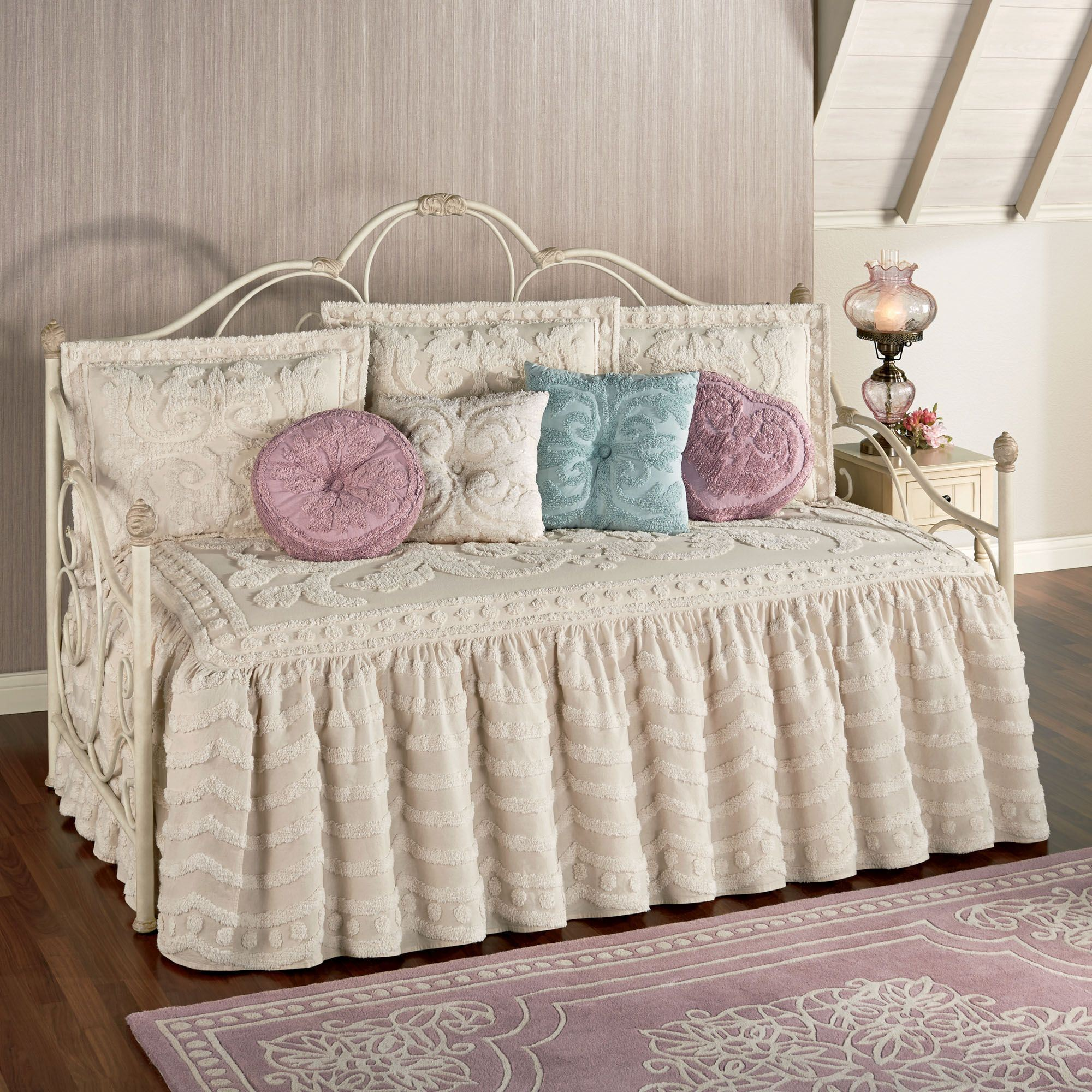 chenille quilts flounce set daybed intrigue ruffled bedding quilt pin