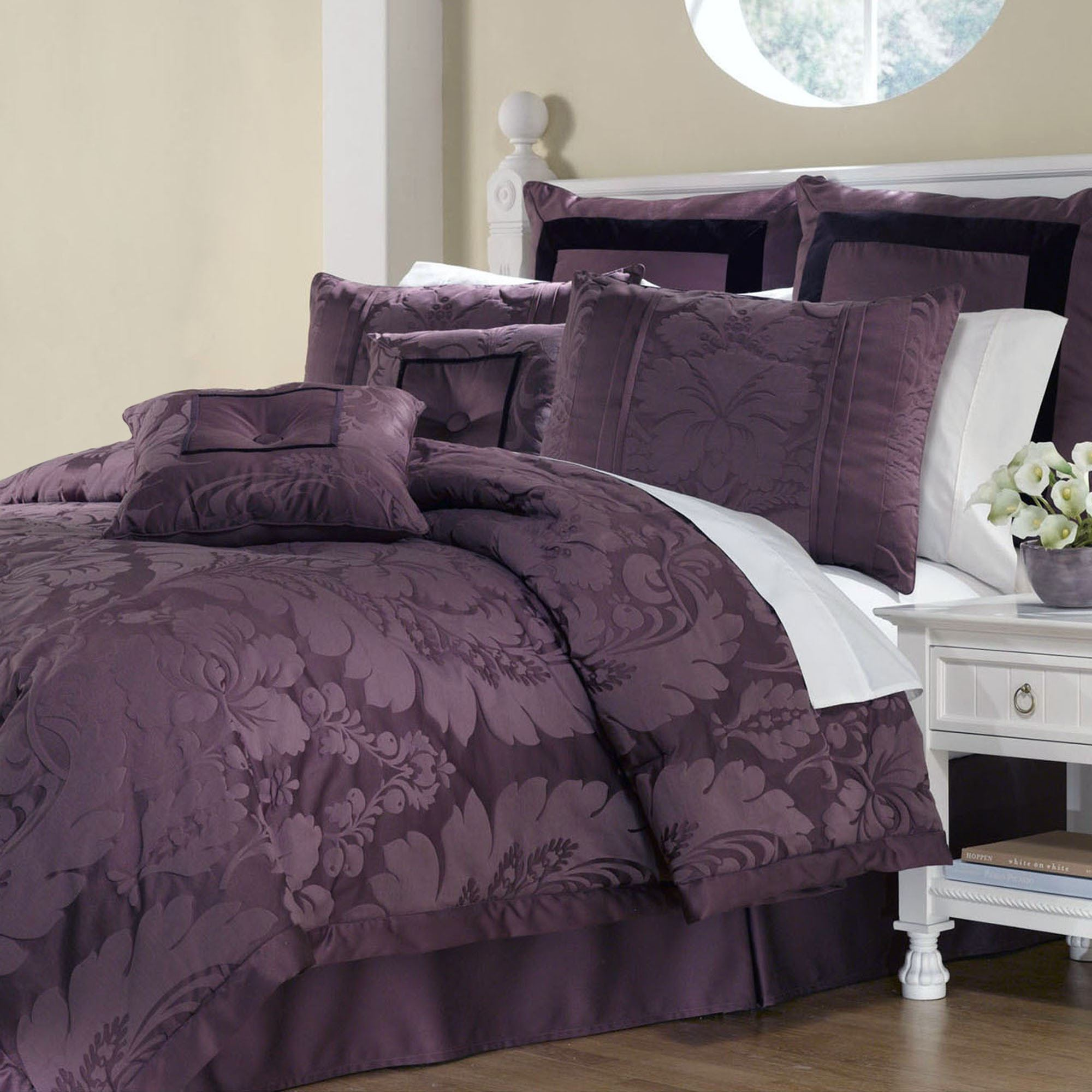 purple bedroom sets. Lorenzo Comforter Bed Set Plum  Click to expand Damask 8 pc