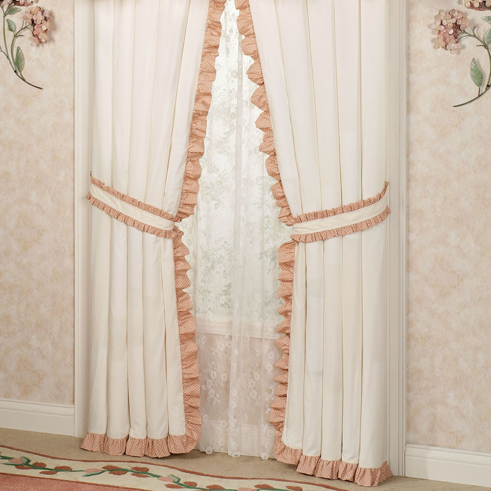 Melody Ruffled Curtain Pair Coral Touch To Zoom