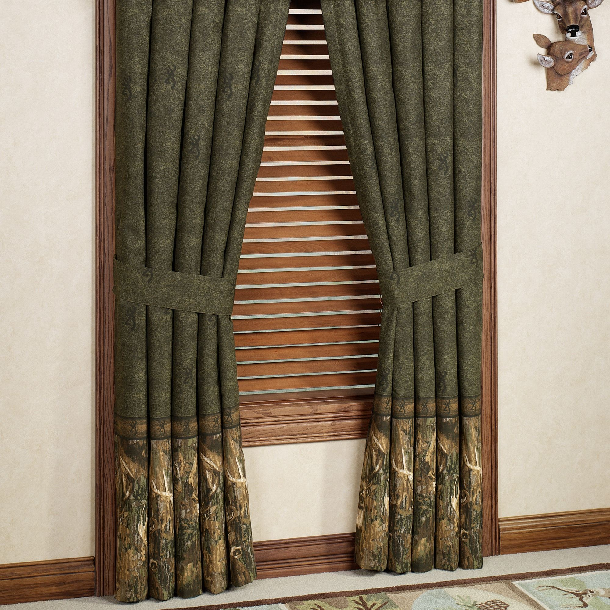 Lovely Browning(R) Whitetails Curtain Pair Multi Warm 84 X 84