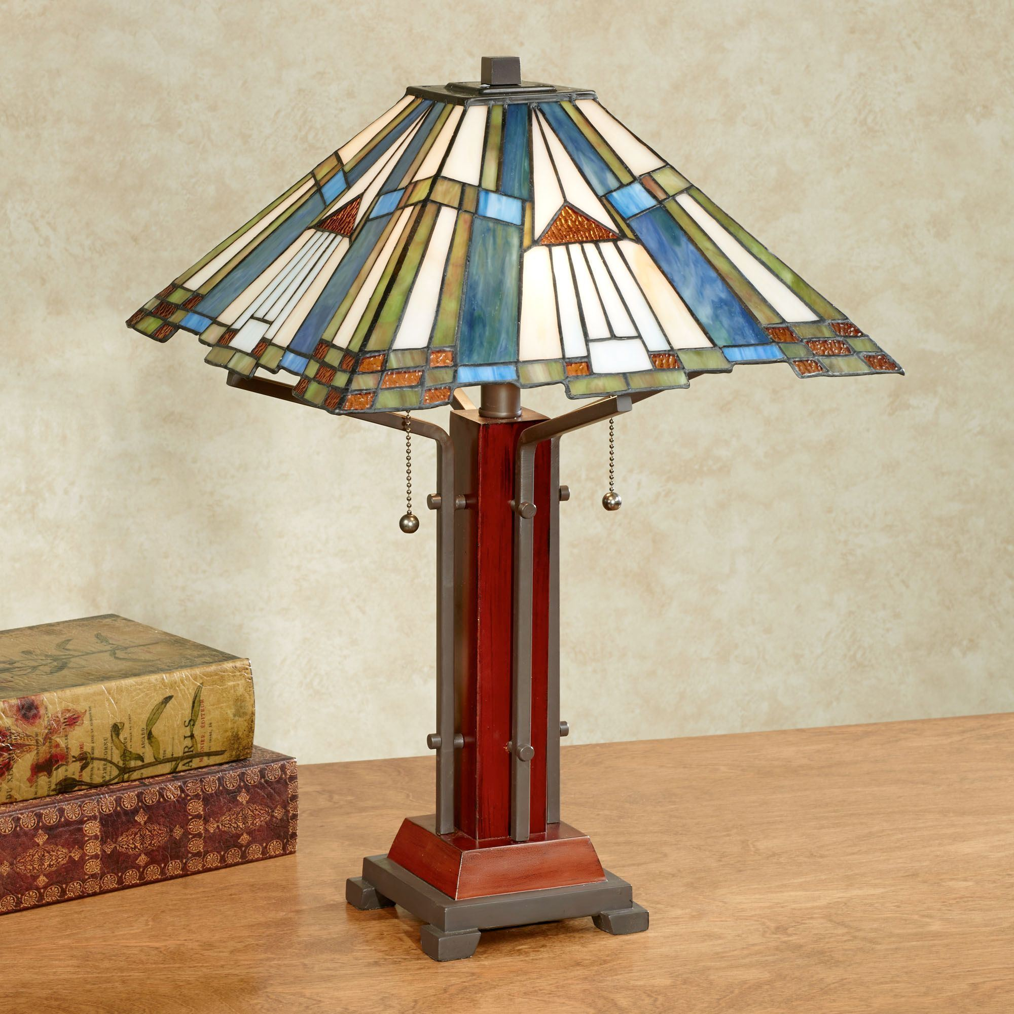 El Camino Stained Glass Table Lamp Multi Earth Each With CFL Bulbs. Click  To Expand